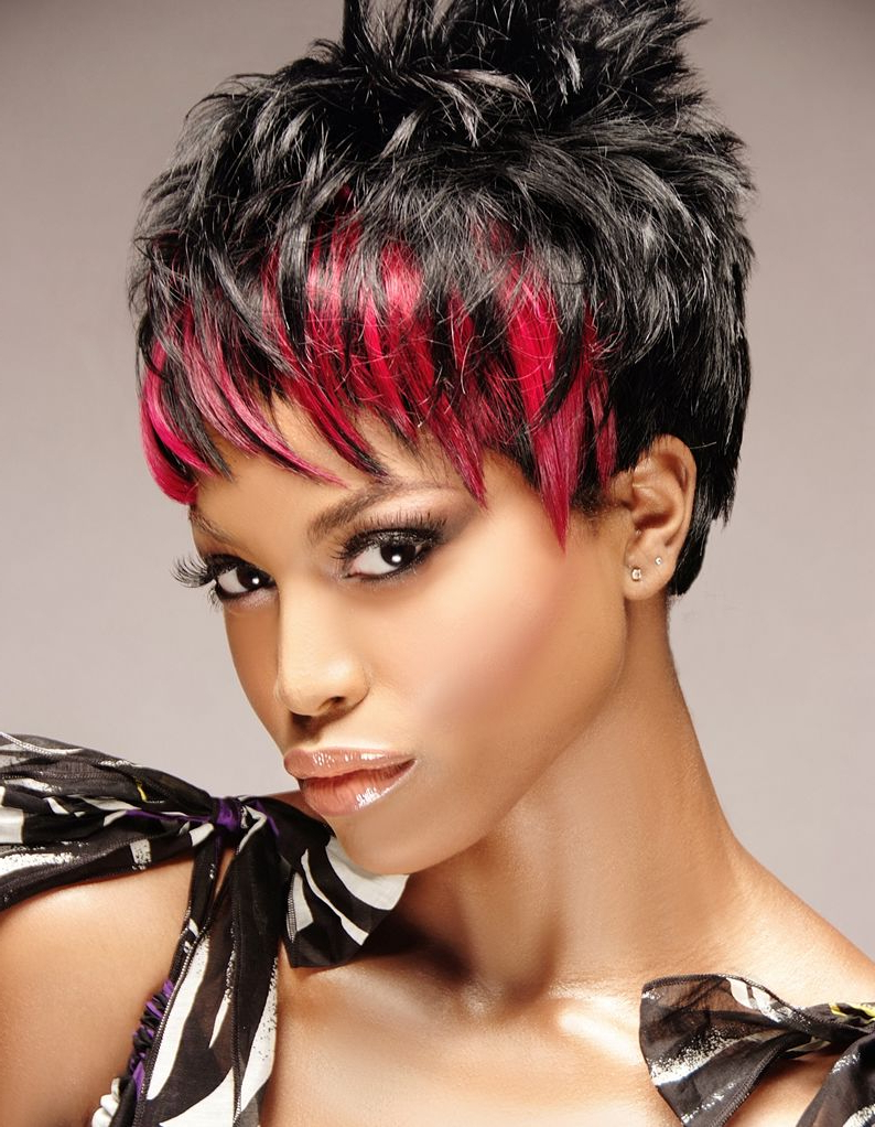 Dark Short Layered Spiky Crop Haircut With Wispy Bright Red Streaked Inside Short Red Haircuts With Wispy Layers (Gallery 9 of 20)