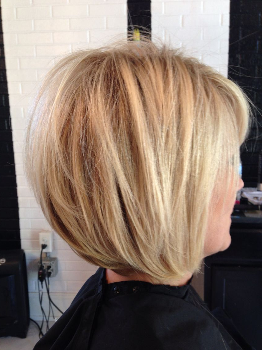 Dimensional Blonde, Bright Blonde, Stacked Bob, Razored Bob, Mature With Regard To Hazel Blonde Razored Bob Hairstyles (View 19 of 20)