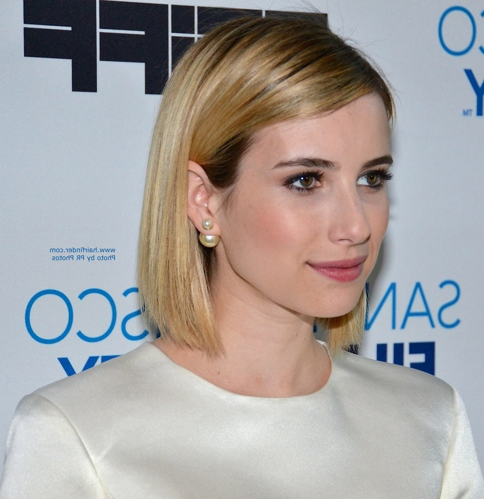 Emma Roberts | Long Sleek Bob With Rounded Layers And Beveled Ends In Sleek Bob Hairstyles For Thin Hair (View 12 of 20)