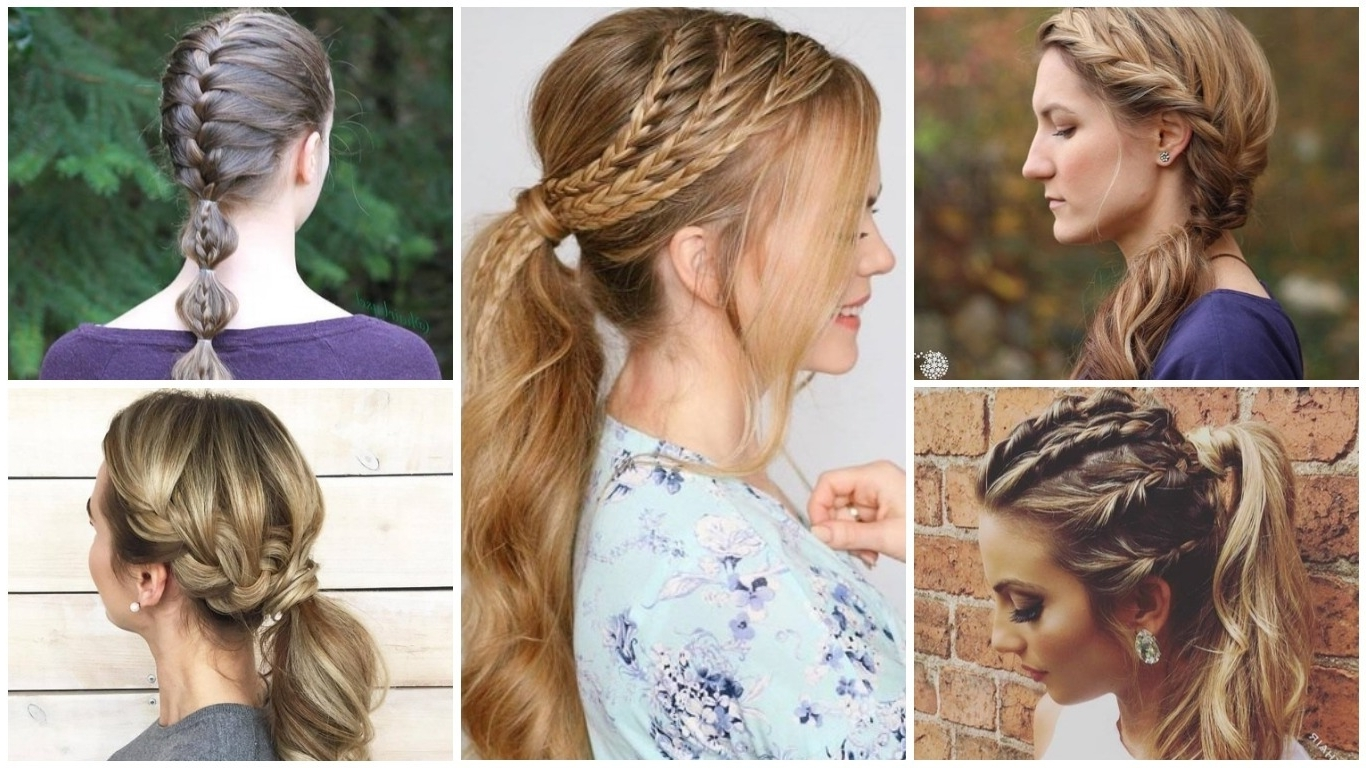 Fantastic French Braid Ponytails Hairstyles 2019 Within Preferred Flowy Side Braid Ponytail Hairstyles (View 8 of 20)