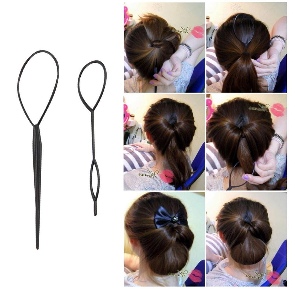 Fashionable Topsy Tail Low Ponytails Inside Ponytail Creator Plastic Loop Styling Tools Black Topsy Pony Topsy (View 8 of 20)