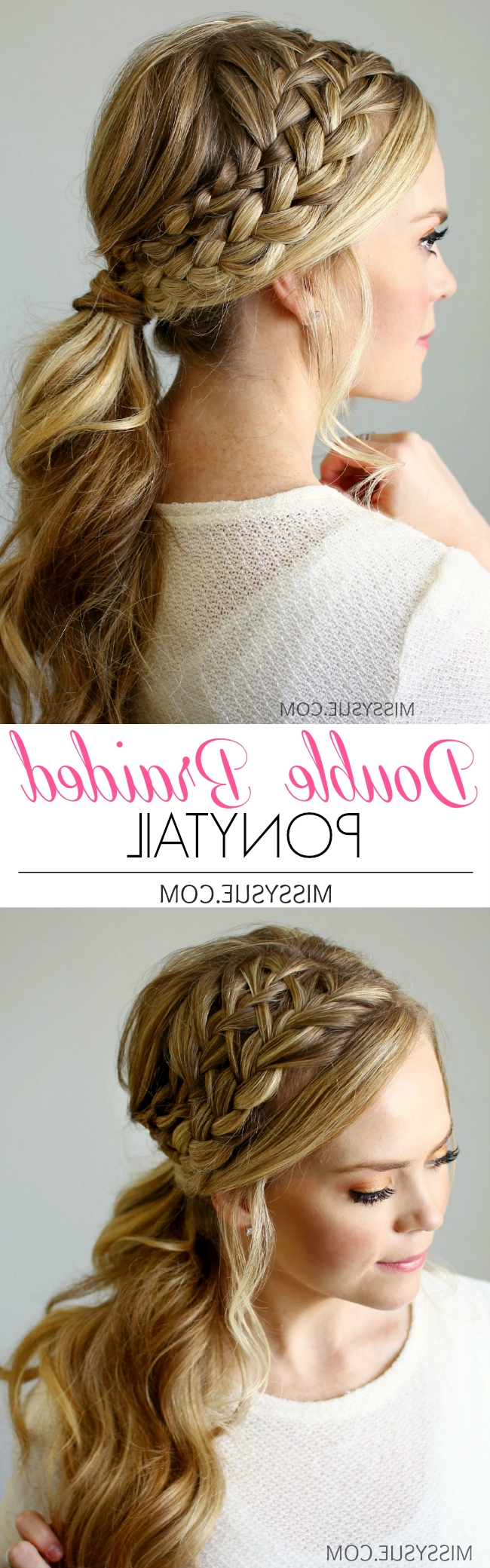 Favorite Double French Braid Crown Ponytail Hairstyles In Double Braided Ponytail (View 16 of 20)