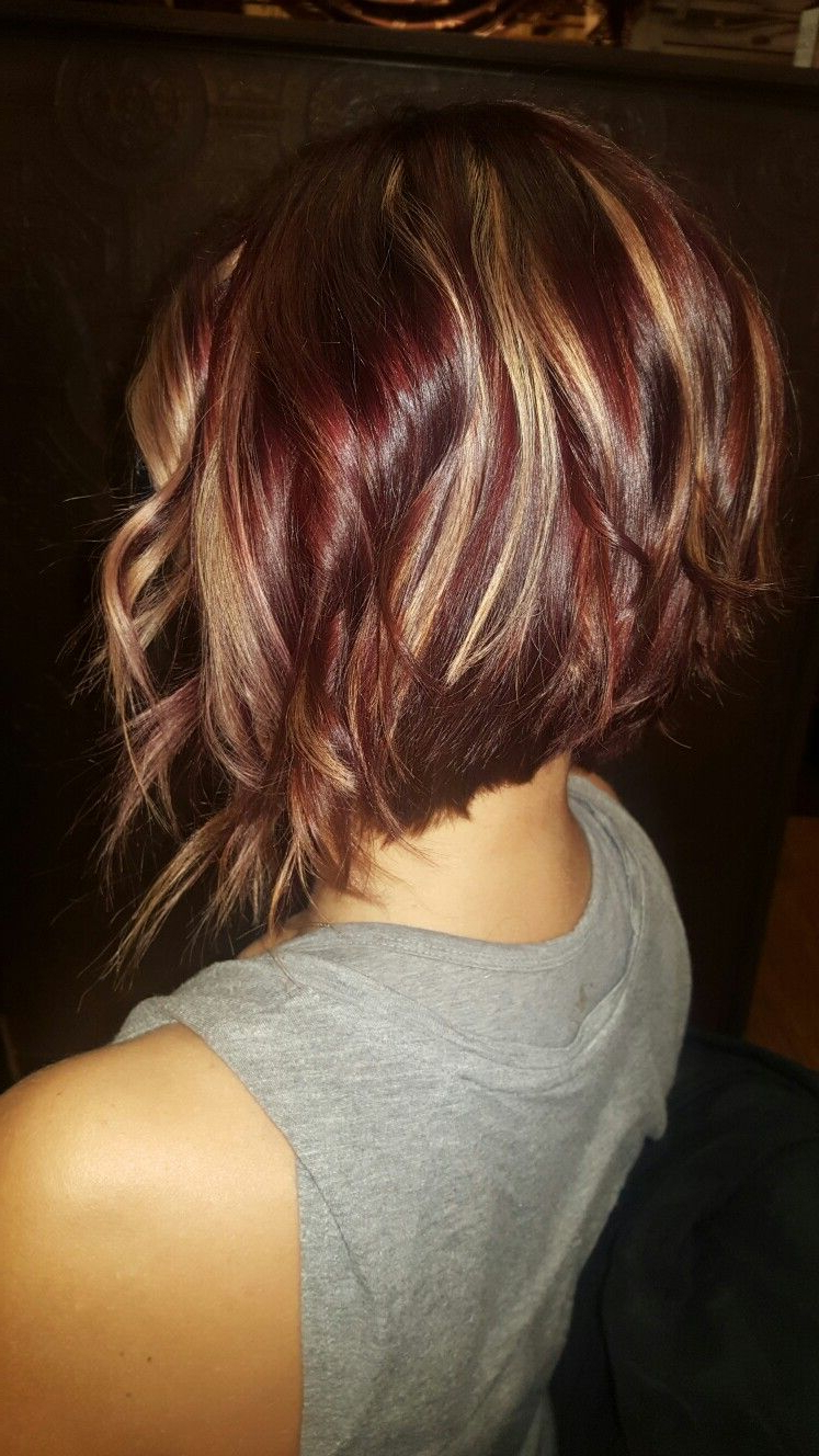 Fun Red Violet Inverted Bob With Golden Highlights | New Hair I Want In Short Bob Hairstyles With Whipped Curls And Babylights (View 18 of 20)