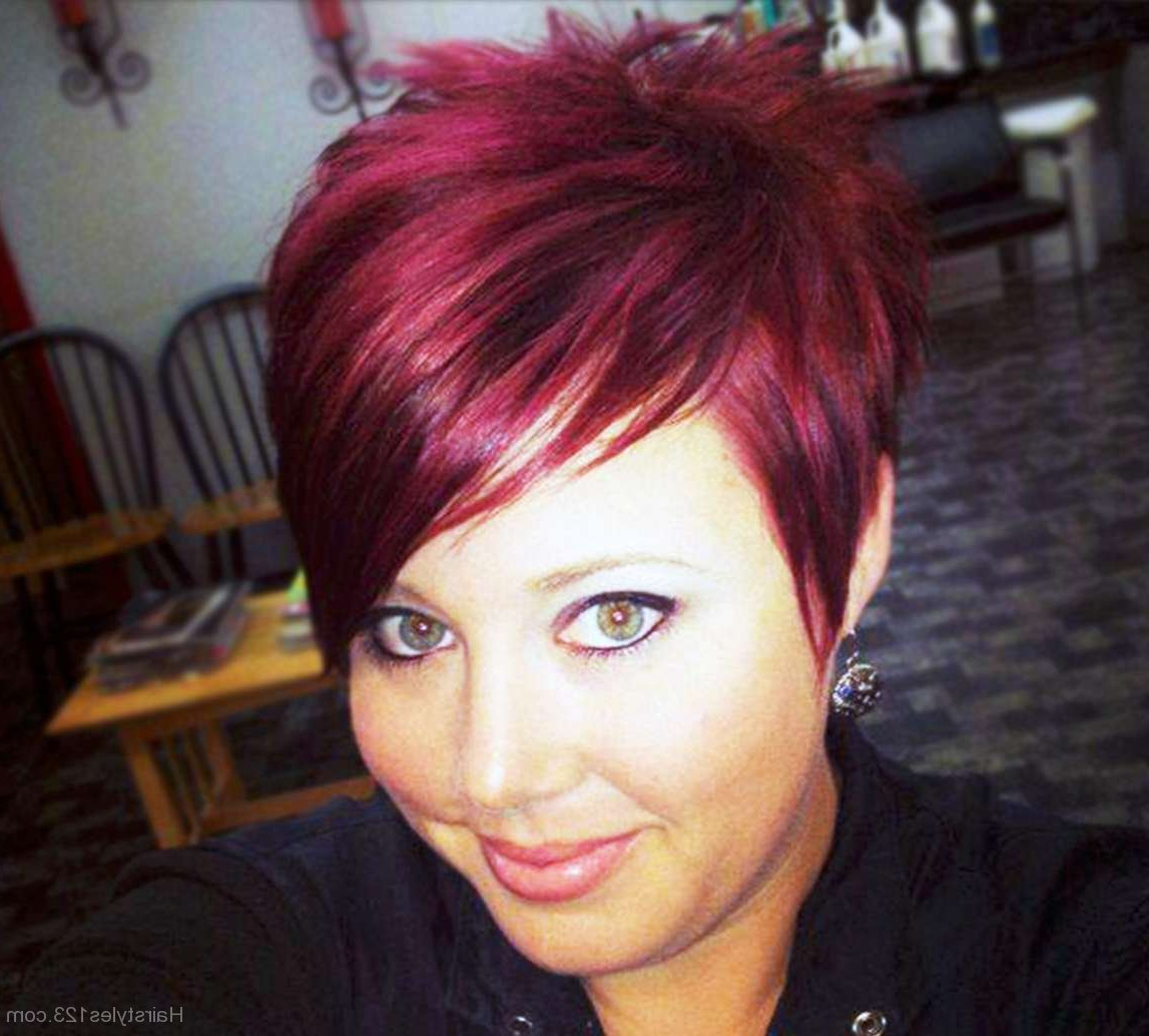 Funky Red Pixie Hairstyle Within Funky Pixie Undercut Hairstyles (View 13 of 20)