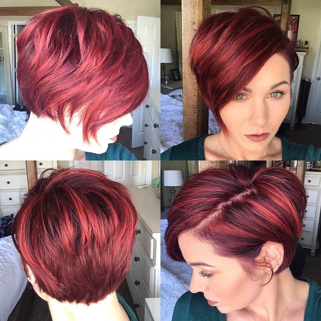 Get This Hairstyle: – Red Highlighted Graduated Asymmetrical Pixie With Highlighted Pixie Bob Hairstyles With Long Bangs (Gallery 9 of 20)