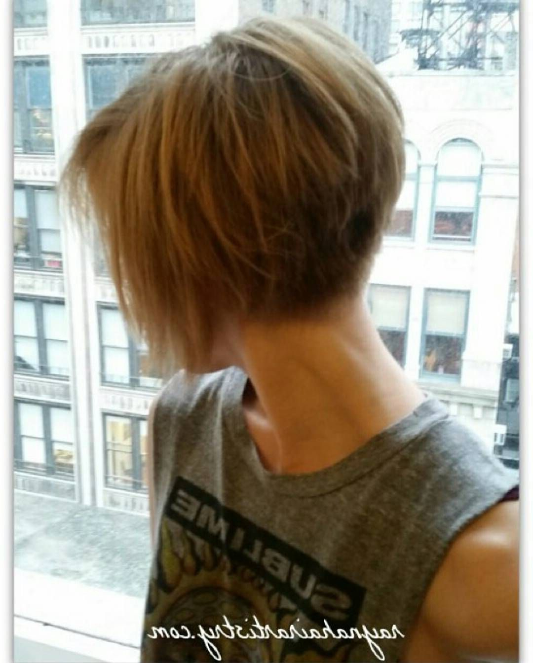 Graduated Bob With Highlights To Emphasise The Cut. Easy To Maintain Pertaining To Layered Pixie Hairstyles With Nape Undercut (Gallery 20 of 20)