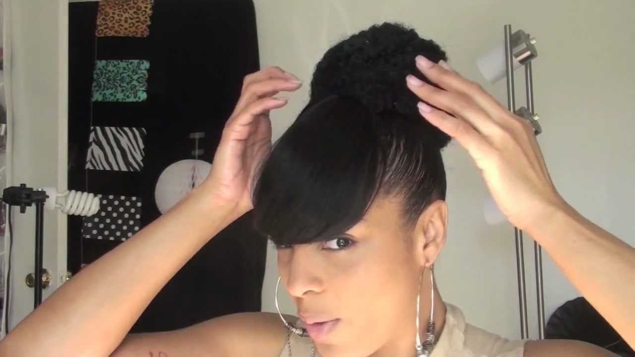 Hair: Natural Sista Ponytail High Bun And Bang – Youtube Inside Most Up To Date Sculpted And Constructed Black Ponytail Hairstyles (View 6 of 20)