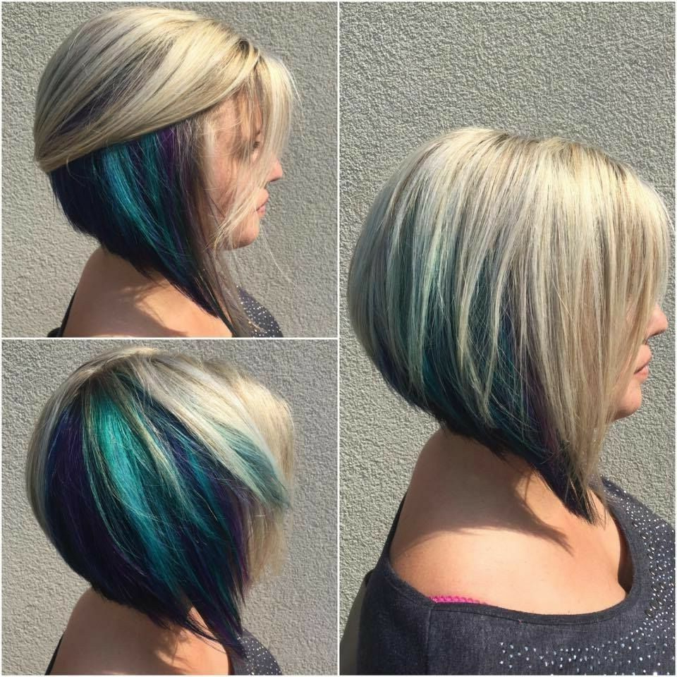 Hidden Blue Color Pop In Blonde Swing Bob | Beauty In 2018 Regarding Extreme Angled Bob Haircuts With Pink Peek A Boos (View 6 of 20)