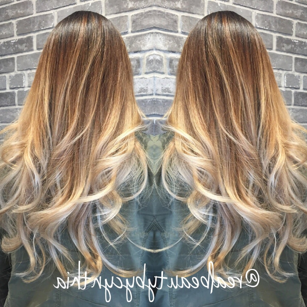 High Contrast Balayage Sombre Light Golden Brown To Ash Blonde With Within High Contrast Blonde Balayage Bob Hairstyles (View 14 of 20)