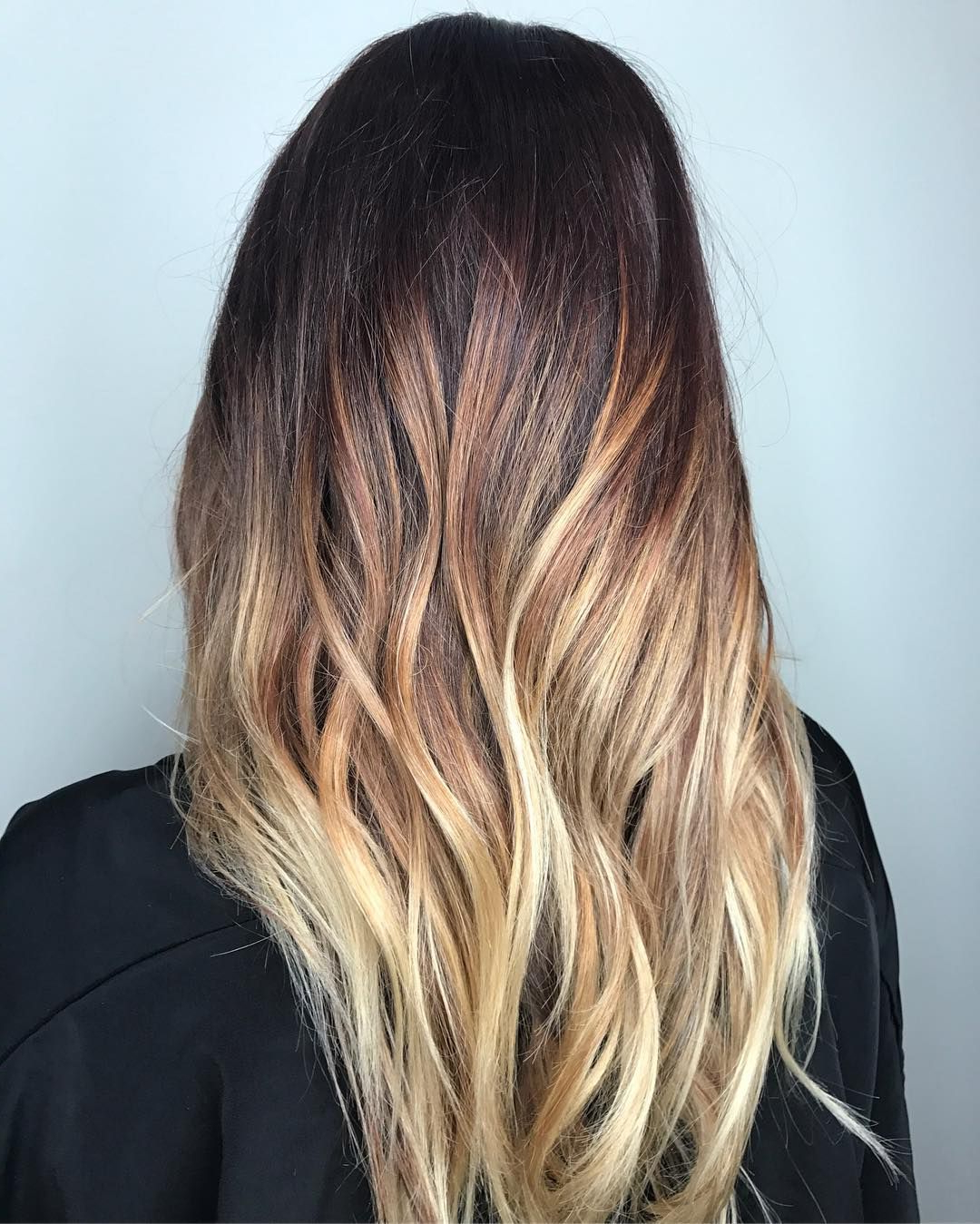 High Contrast Copper And White Blonde Balayage For Dark Brown Hair With Regard To High Contrast Blonde Balayage Bob Hairstyles (View 18 of 20)