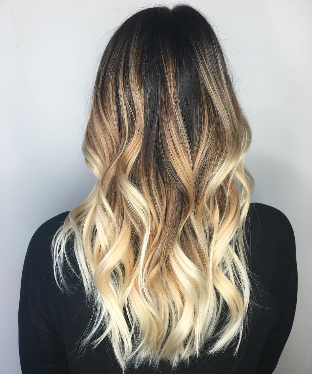 High Contrast Golden Yellow Balayage For Black Brown Hair | Balayage Regarding High Contrast Blonde Balayage Bob Hairstyles (View 19 of 20)