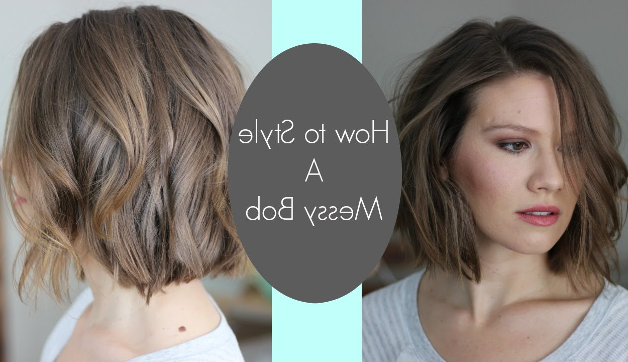 How I Style My Messy Bob // Laura's Natural Life – Youtube Pertaining To Jaw Length Inverted Curly Brunette Bob Hairstyles (View 17 of 20)