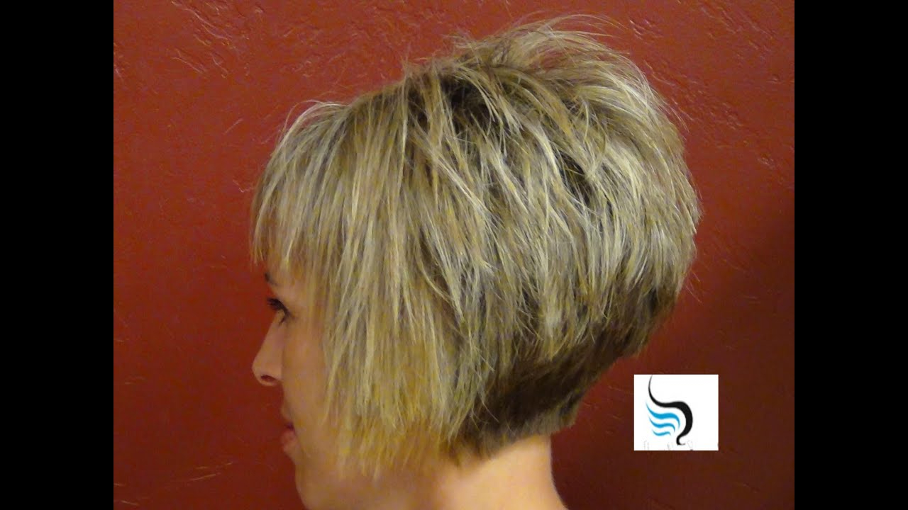 How To Do A (Short Stacked Haircut) With Straight Bangs Girl Within Messy Pixie Haircuts With V Cut Layers (View 15 of 20)
