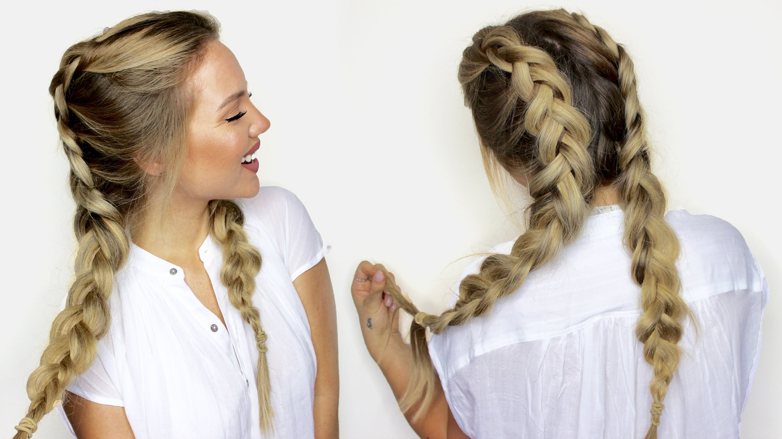 How To Do Double Dutch Braids With Hair Extensions – Youtube For Preferred Blonde Ponytails With Double Braid (View 8 of 20)