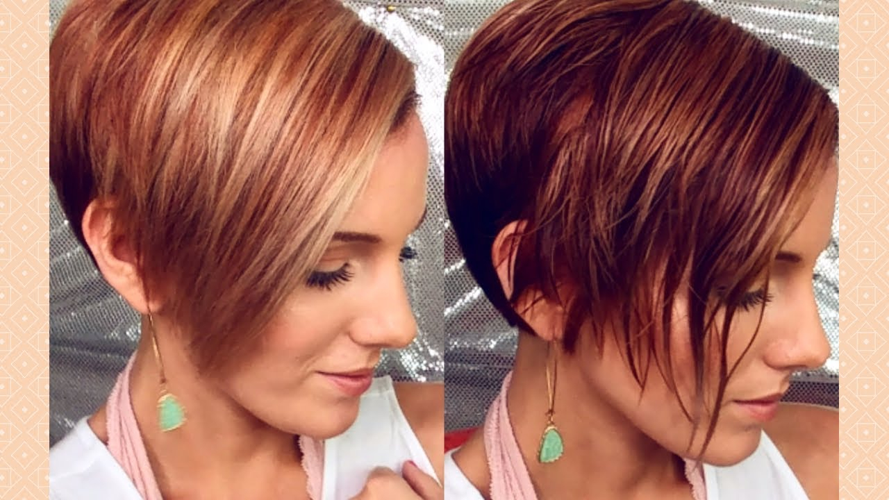 How To Round Brush & Style An Asymmetrical Pixie/bob – Youtube With Rounded Pixie Bob Haircuts With Blonde Balayage (View 11 of 20)
