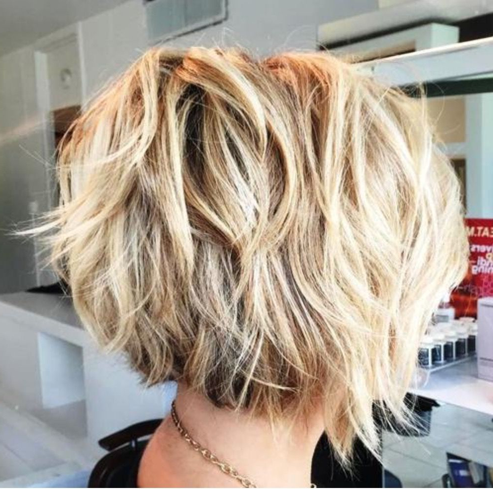 Image Result For Feathered Tousled Blonde Bob Back View | Haircuts For Inverted Brunette Bob Hairstyles With Feathered Highlights (View 15 of 20)