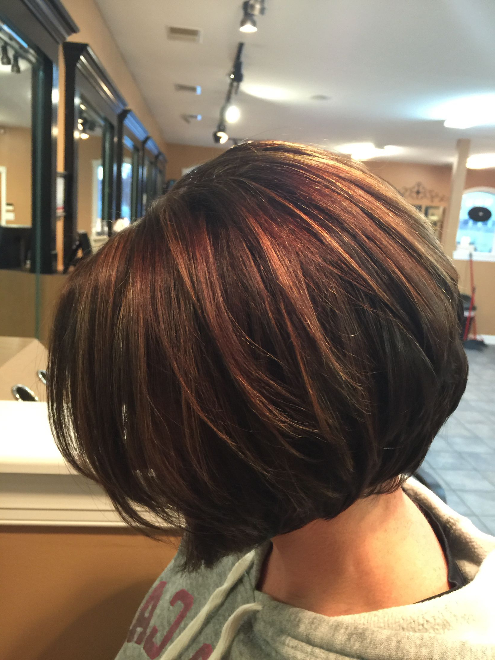 Inverted Bob.. Chocolate Brown With Caramel Highlights..deanna Regarding Inverted Brunette Bob Hairstyles With Feathered Highlights (Gallery 5 of 20)