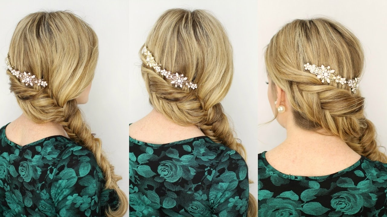 Inverted Fishtail Side Braid – Youtube Throughout Most Popular Reverse Braid And Side Ponytail Hairstyles (Gallery 15 of 20)
