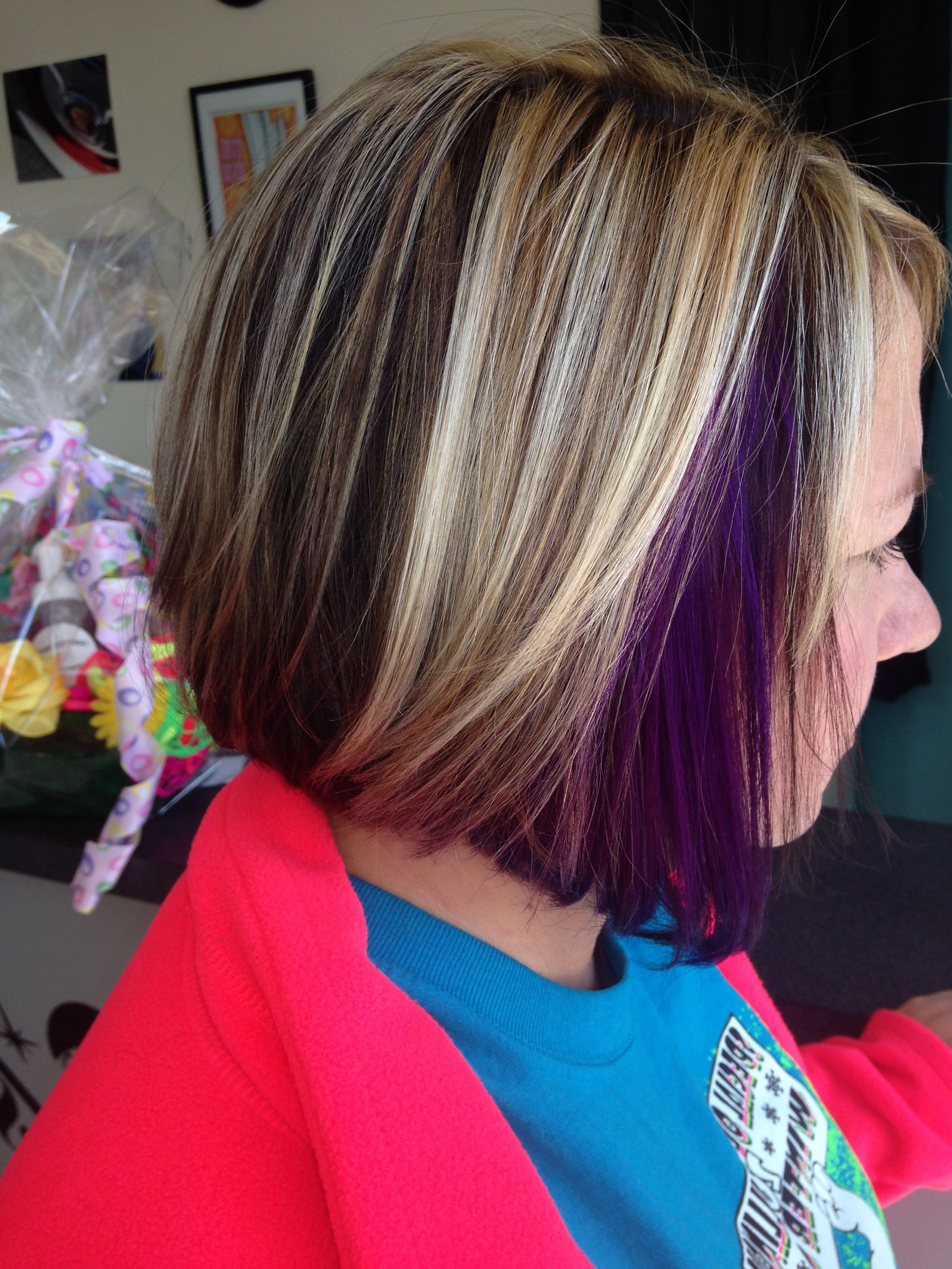 Just A Pop Of Purple! Peek A Boo Purple With Blonde Highlights Pertaining To Extreme Angled Bob Haircuts With Pink Peek A Boos (View 19 of 20)