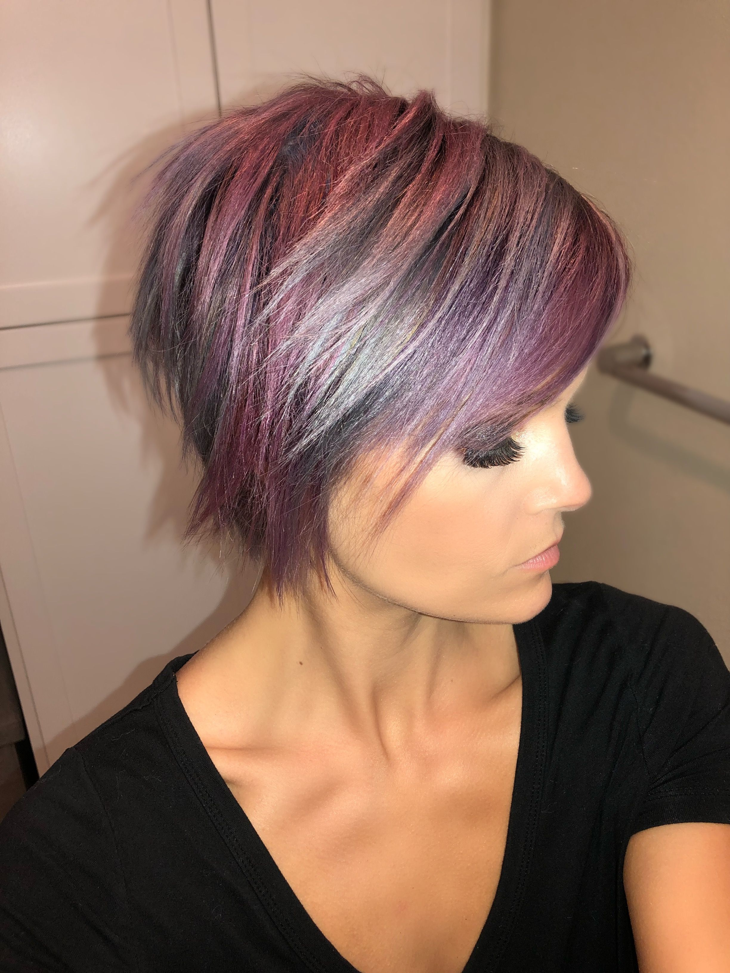 Krissafowles Short Hair Unicorn Hair | Hair In 2018 | Pinterest Within Asymmetrical Unicorn Bob Haircuts (Gallery 4 of 20)