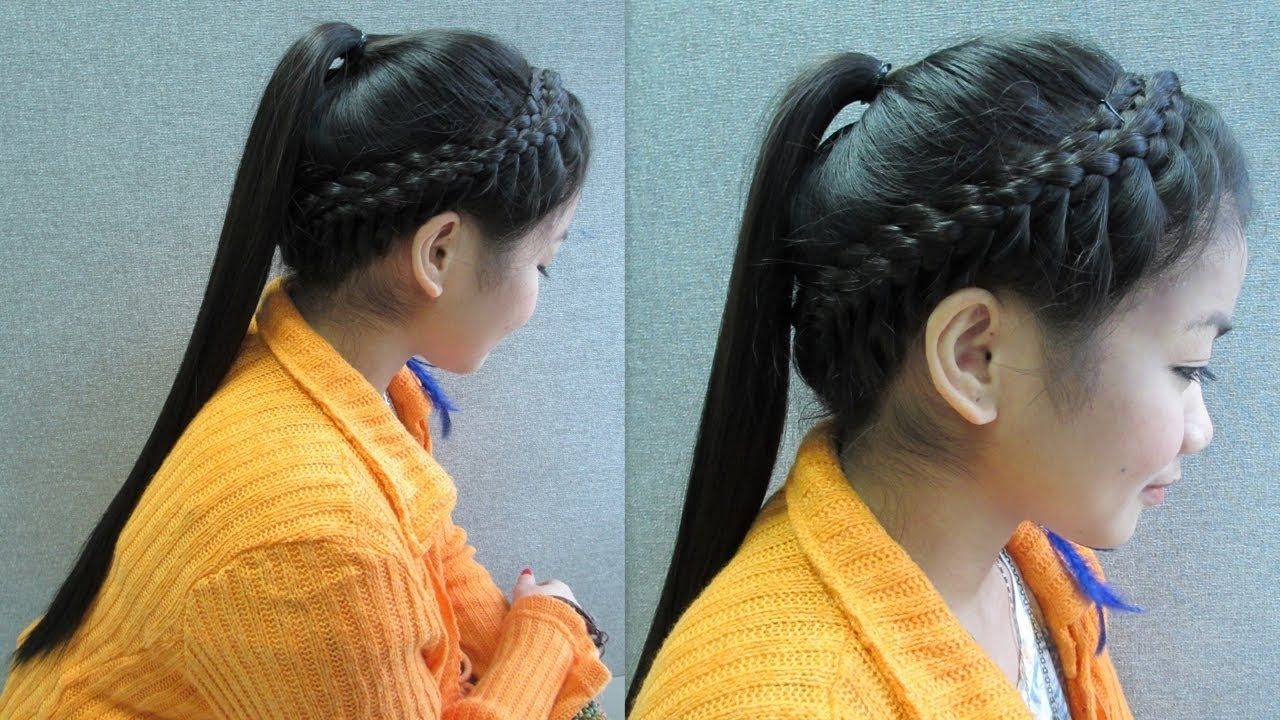 Latest Braided Crown Pony Hairstyles Intended For Crown Braid With Ponytail Hair Tutorial – Youtube (Gallery 3 of 20)