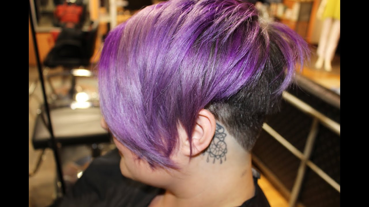 Lavender Steel Hair Color And Undercut – Youtube In Lavender Haircuts With Side Part (Gallery 14 of 20)