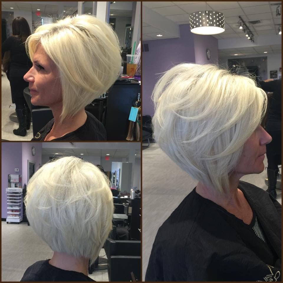 Layered Angled Bobgia Platinum Blonde@adelleandrade Intended For Stacked Choppy Blonde Bob Haircuts (Gallery 15 of 20)