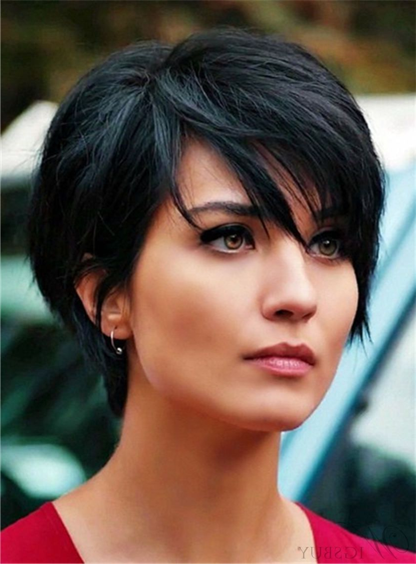 Layered Natural Black Pixie Short Messy Synthetic Hair With Straight In Shorter Black Messy Hairstyles (Gallery 1 of 20)