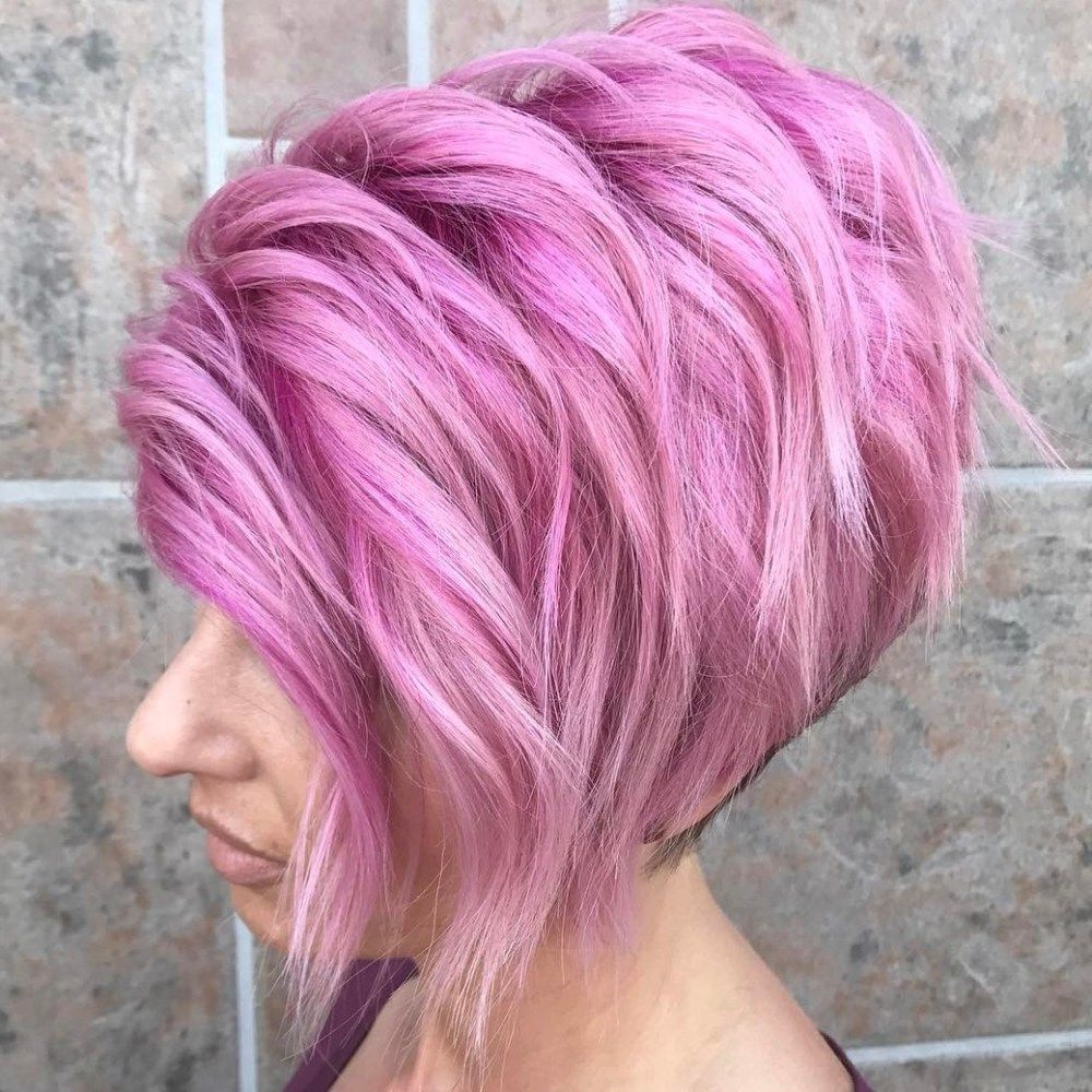 Layered Stacked Pastel Pink Bob | Hair | Pinterest | Pastel Pink Regarding Pastel Pink Textured Pixie Hairstyles (View 9 of 20)