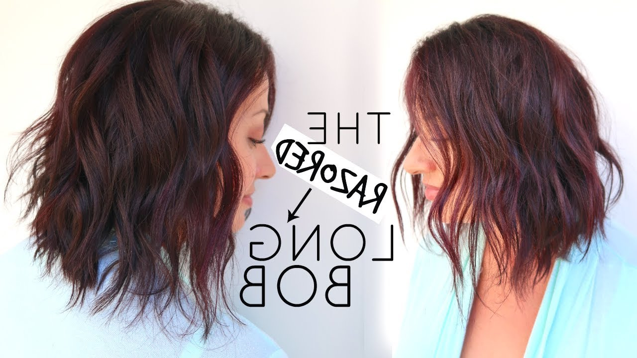 Long Bob Hair Cut Tutorial Using A Razor – Youtube In Razored Brown Bob Hairstyles (View 6 of 20)