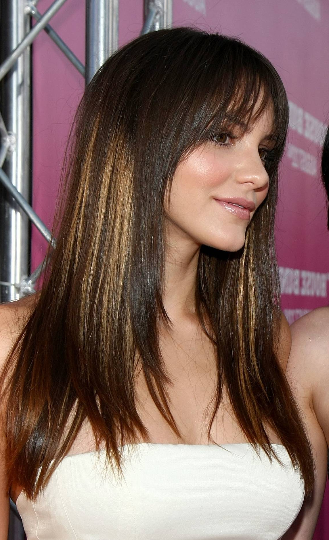 Long, Dark Brown Hair With Wispy Bangs And Blonde Highlights Throughout Short Red Haircuts With Wispy Layers (Gallery 6 of 20)