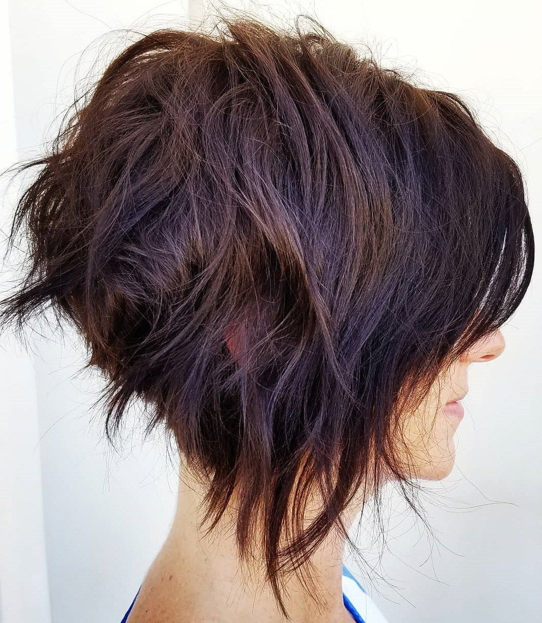 Messy Shaggy Inverted Bob With Subtle Highlights | Curly Hair In Intended For Black Curly Inverted Bob Hairstyles For Thick Hair (View 2 of 20)