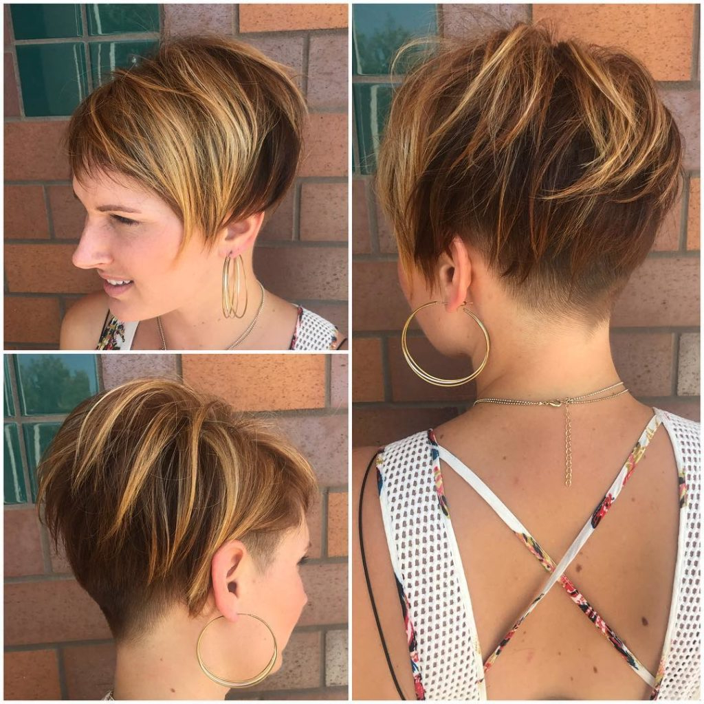 Messy Voluminous Brunette Undercut Pixie With Highlights Women's Throughout Highlighted Pixie Bob Hairstyles With Long Bangs (View 13 of 20)