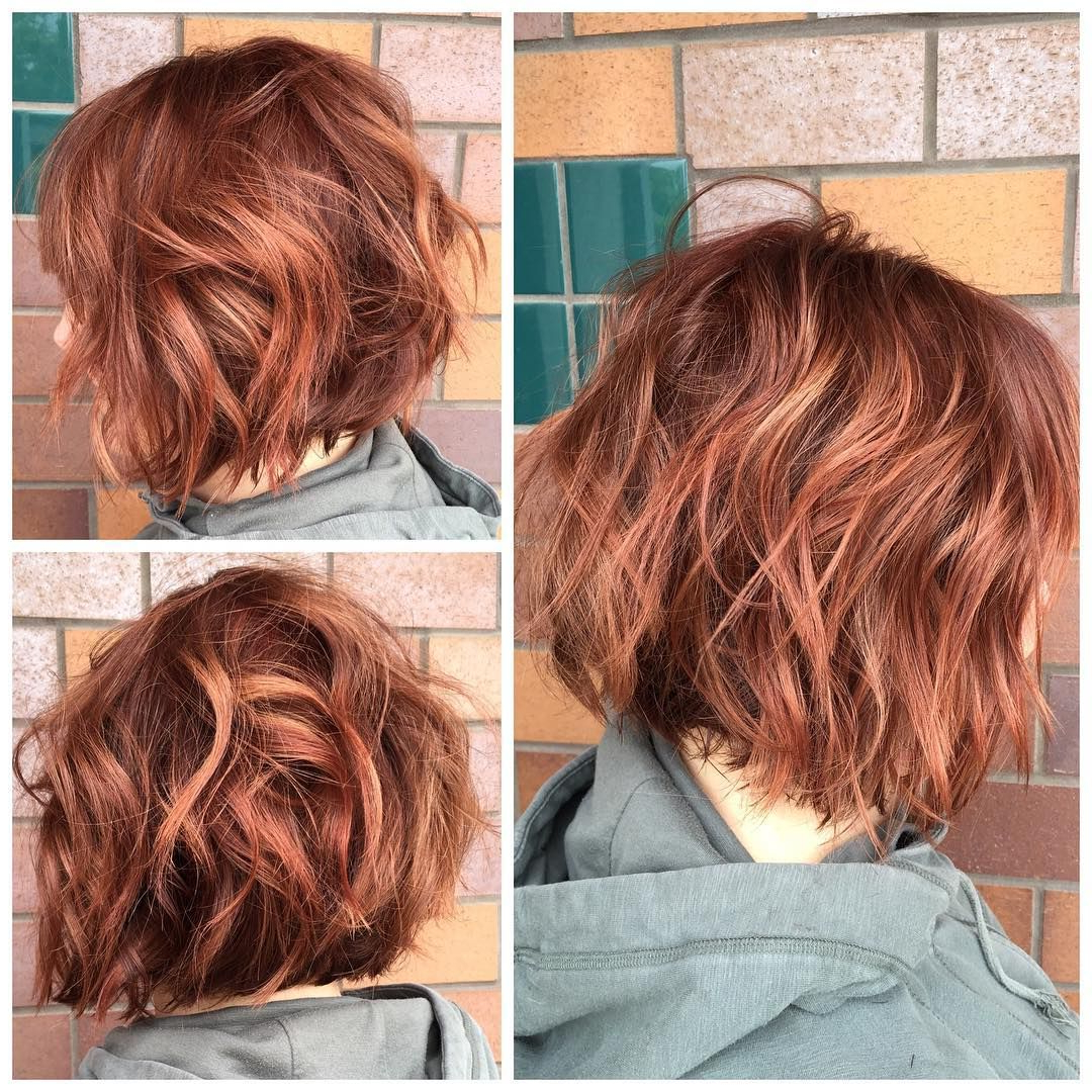 More Dimensional Red Color And A Textured Bob Haircut For Haley Regarding Burgundy And Tangerine Piecey Bob Hairstyles (View 17 of 20)