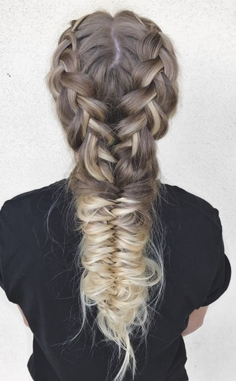 Most Current Double French Braid Crown Ponytail Hairstyles For Double French Braids Into Fishtail Braid Ponytail (View 15 of 20)