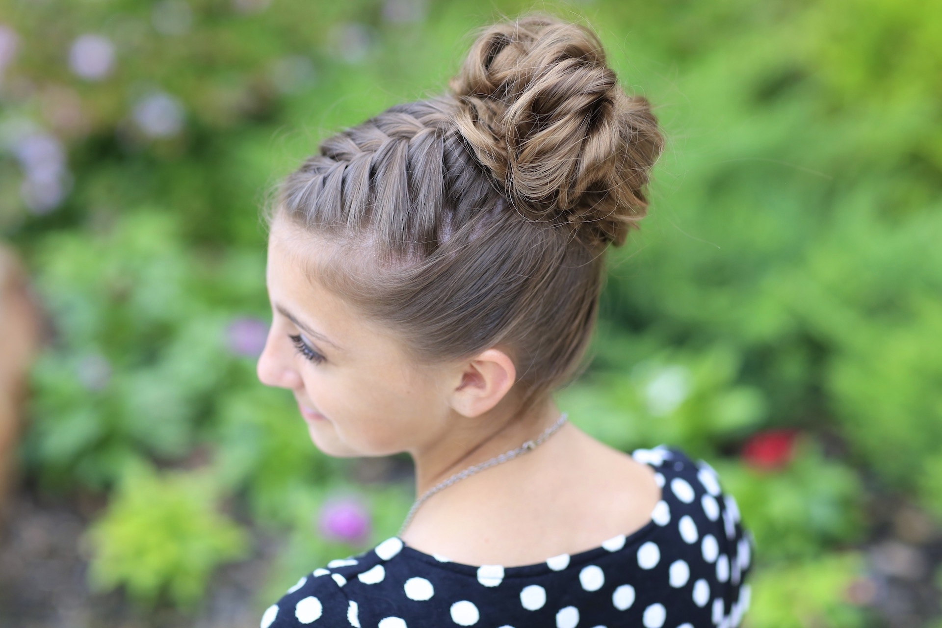 Most Current Double French Braid Crown Ponytail Hairstyles With Double French Messy Bun Updo (View 16 of 20)