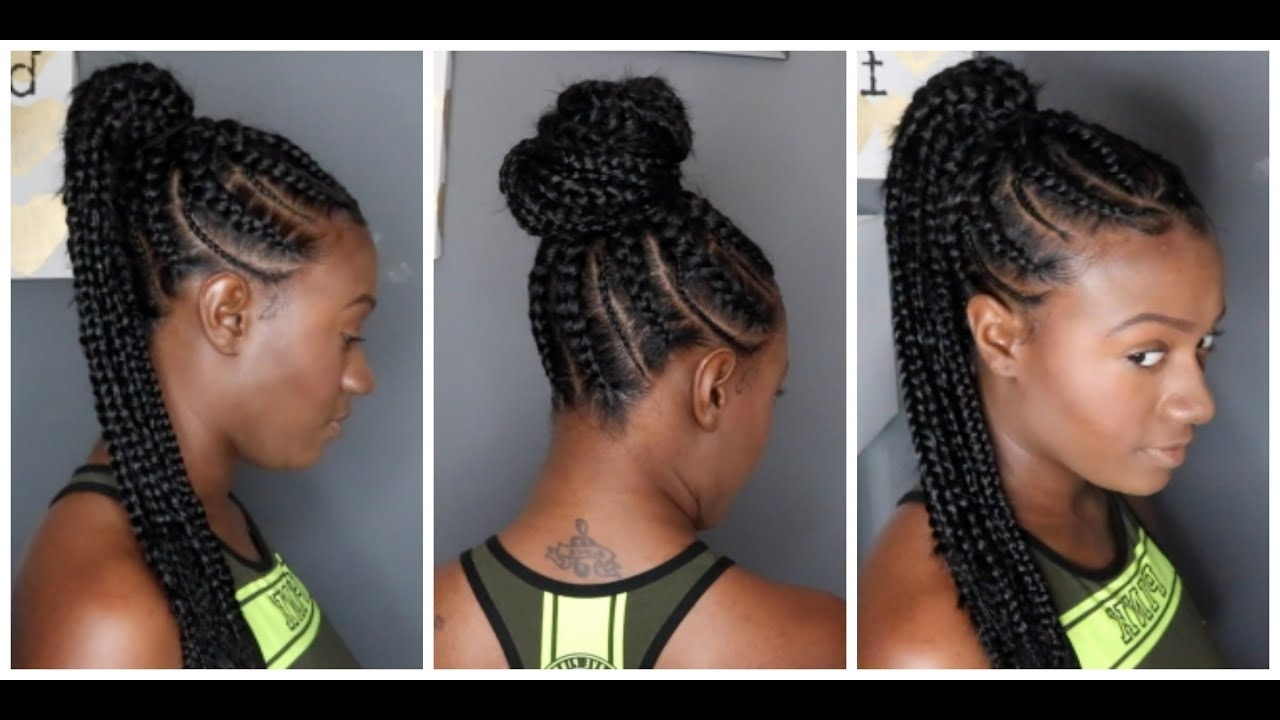 Most Up To Date Braid And Bun Ponytail Hairstyles Throughout Feed In Braids Ponytail – Youtube (View 9 of 20)