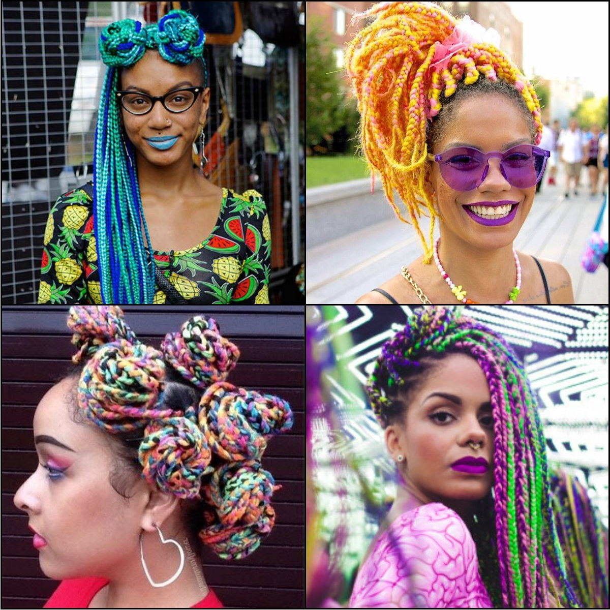 Newest Multicolored Jumbo Braid Ponytail Hairstyles Intended For Multi Colored Rainbow Box Braids You Will Be Impressed With (View 11 of 20)