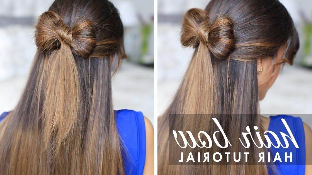 Newest Tangled And Twisted Ponytail Hairstyles Inside Half Up Hair Bow Cute Hair Tutorial – Youtube (View 13 of 20)