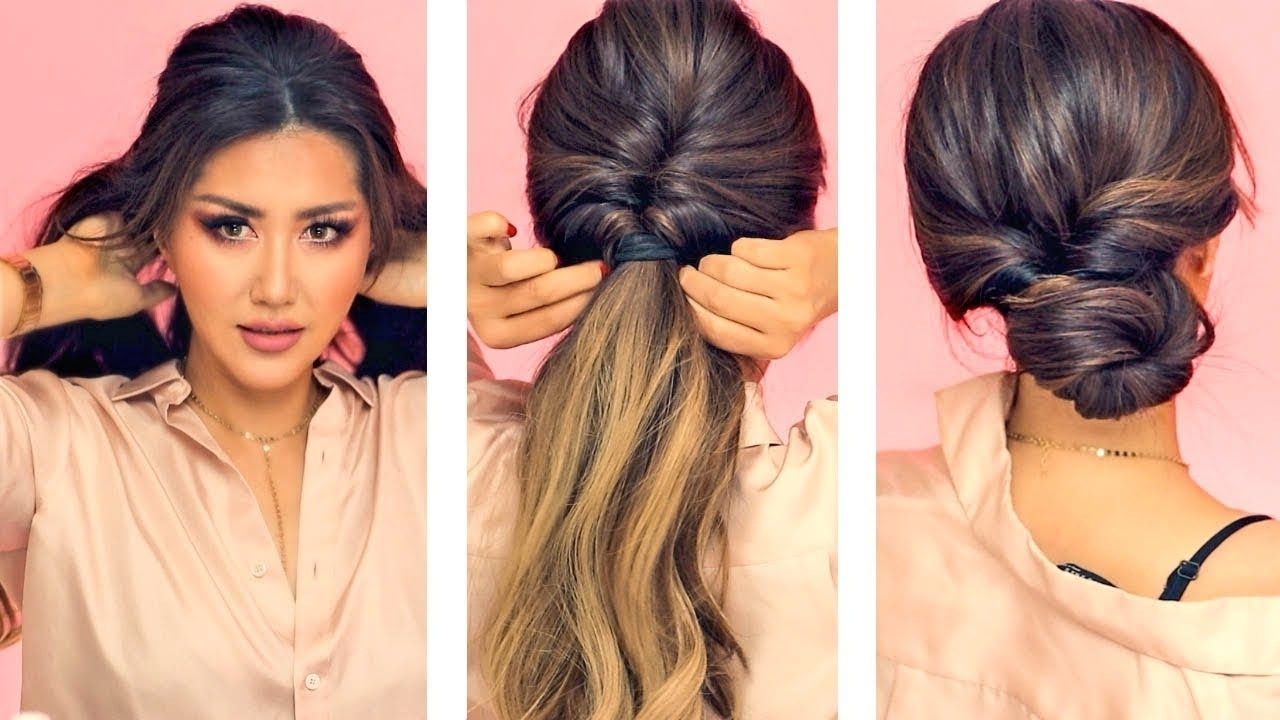 Newest Unique Braided Up Do Ponytail Hairstyles Intended For ☆ 1 Min Everyday Hairstyles For Work! ? With Puff ? Easy Braids (View 12 of 20)