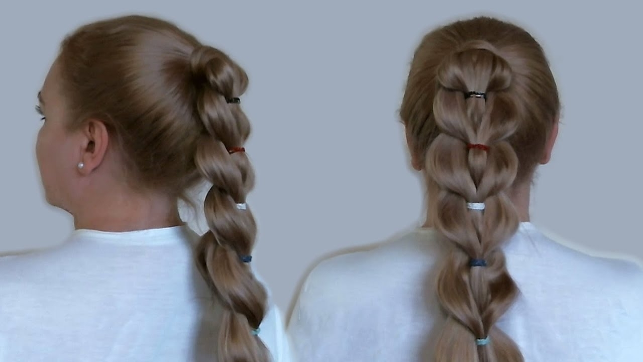 Newest Unique Braided Up Do Ponytail Hairstyles Within Unique Braid: Ponytail With Rubber Bands (View 13 of 20)