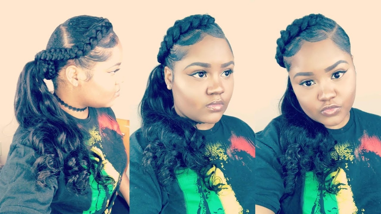 Newest Wavy Side Ponytails With A Crown Braid Regarding Half Braided Low Side Ponytail (View 12 of 20)