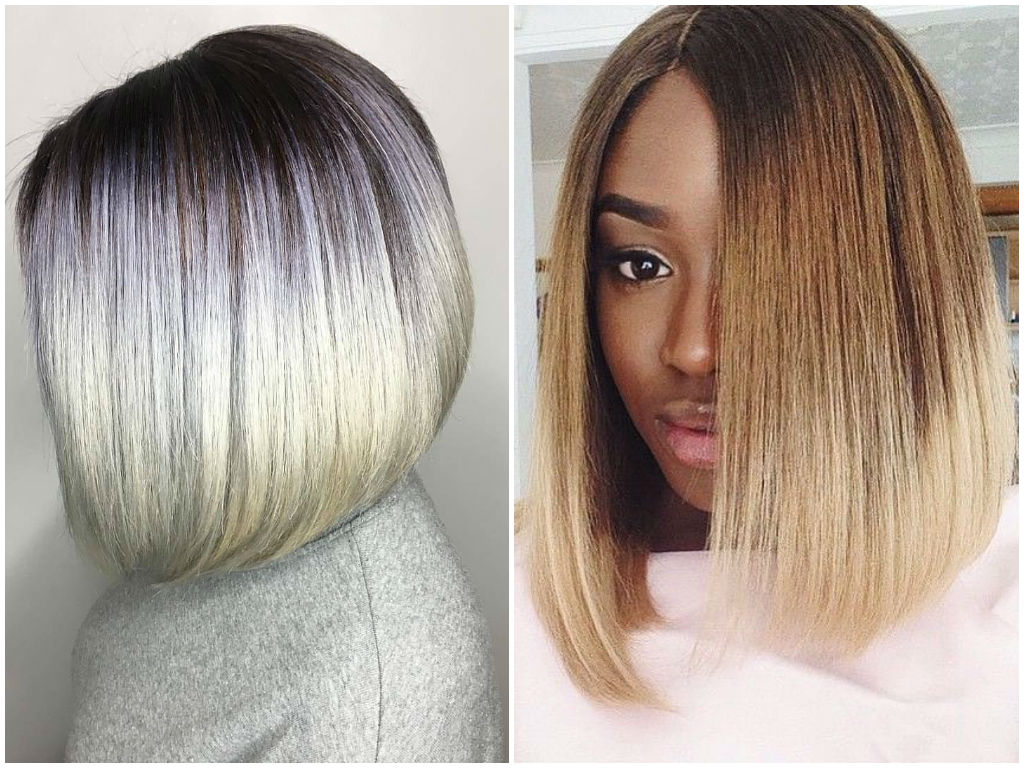 Ombre On Short And Long Bob Hair 2018 Inside Straight Cut Two Tone Bob Hairstyles (View 17 of 20)