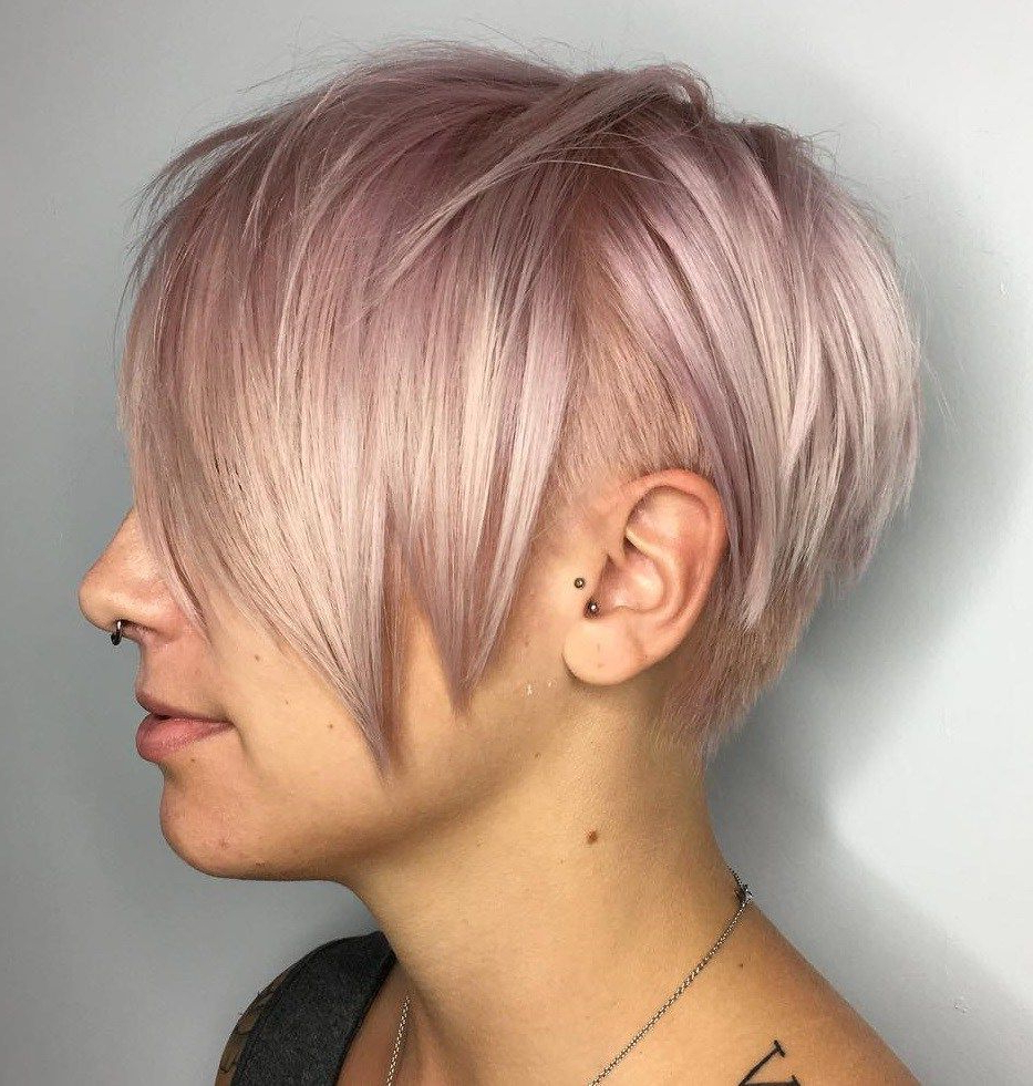 Pastel Pink Pixie Undercut For Straight Hair #shorthairstyles For Pastel Pink Textured Pixie Hairstyles (View 10 of 20)