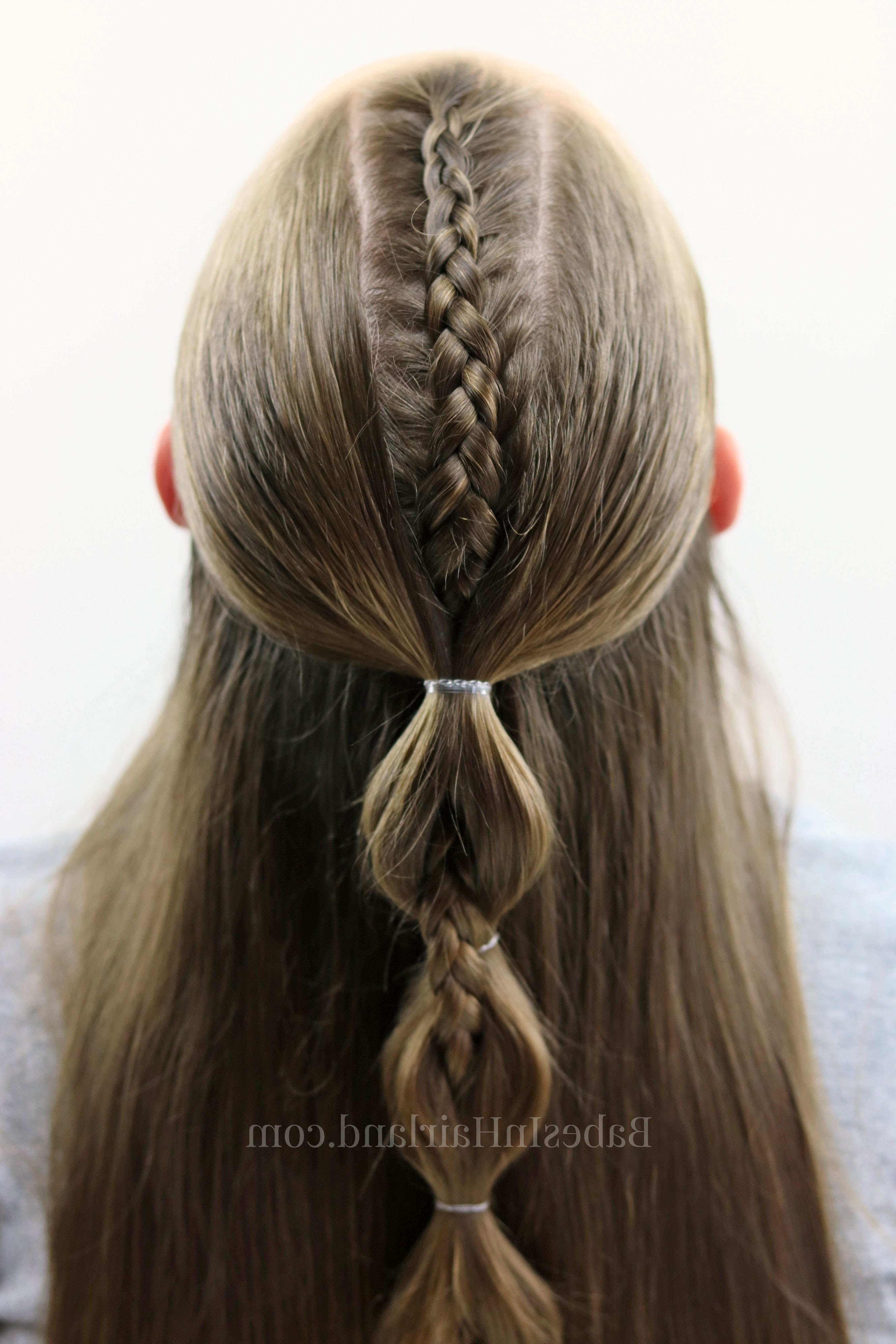 Peek A Boo French Braid Hairstyle For Teens, Tweens And Little Girls Regarding Most Current French Braid Ponytail Hairstyles With Bubbles (View 9 of 20)