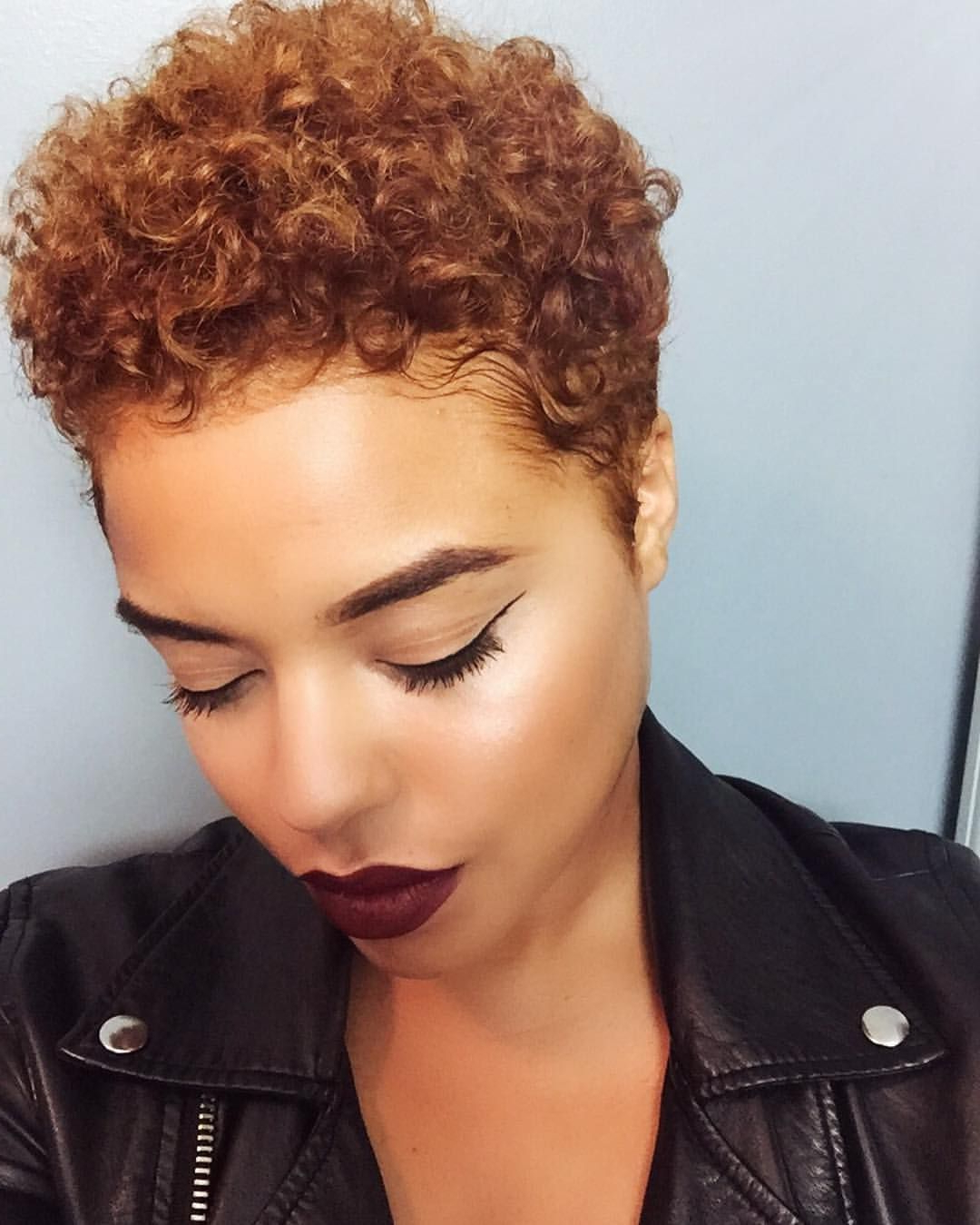 Pin🍍jada🍍 On Black Women Hairstyles | Pinterest | Hair Inside Tapered Brown Pixie Hairstyles With Ginger Curls (View 17 of 20)