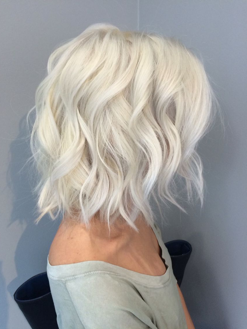 Pinrachael Grace On Hair In 2018 | Pinterest | Hair, Hair Styles In White Blonde Curly Layered Bob Hairstyles (View 4 of 20)