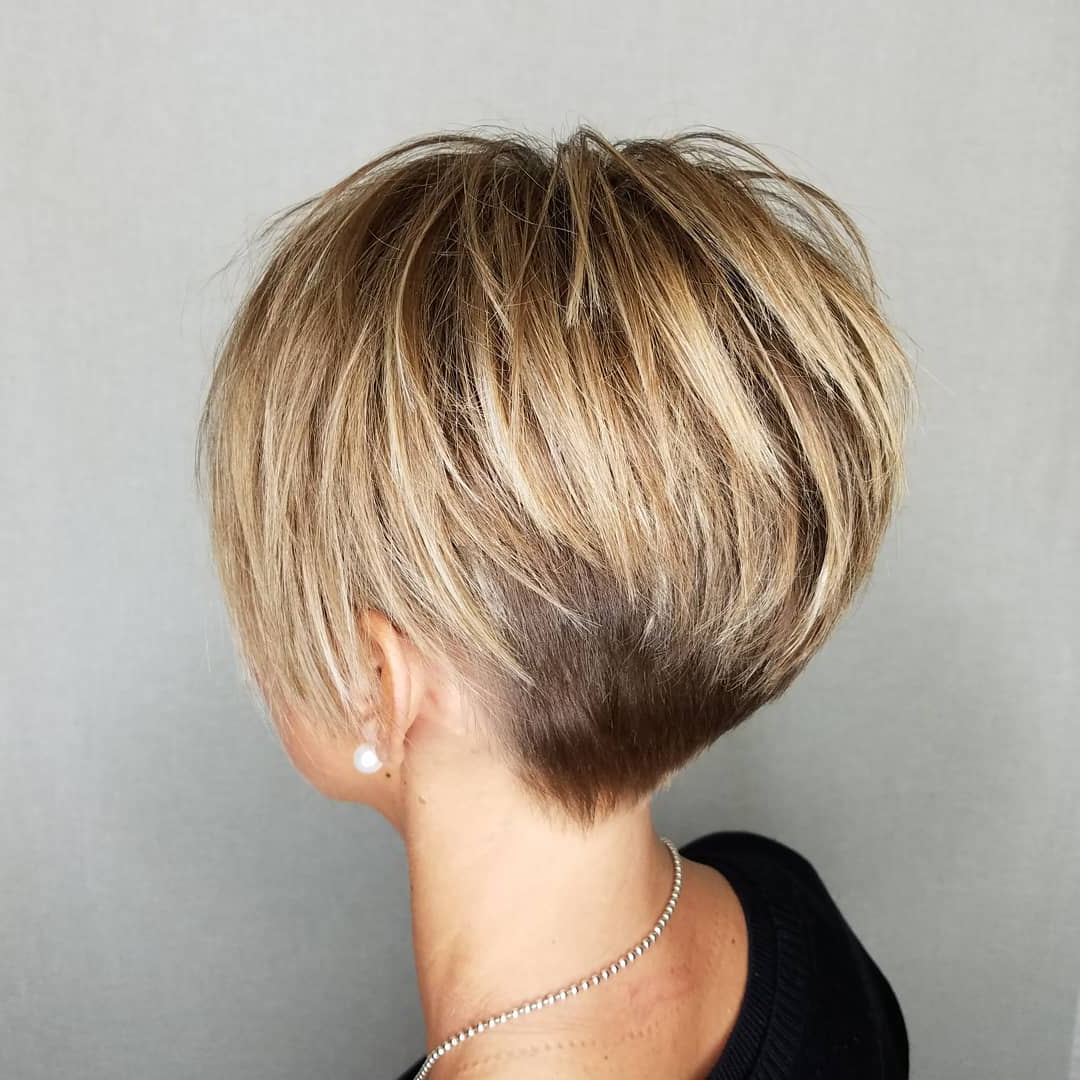 Pixie Haircuts For Thick Hair – 50 Ideas Of Ideal Short Haircuts With Bronde Balayage Pixie Haircuts With V Cut Nape (View 18 of 20)