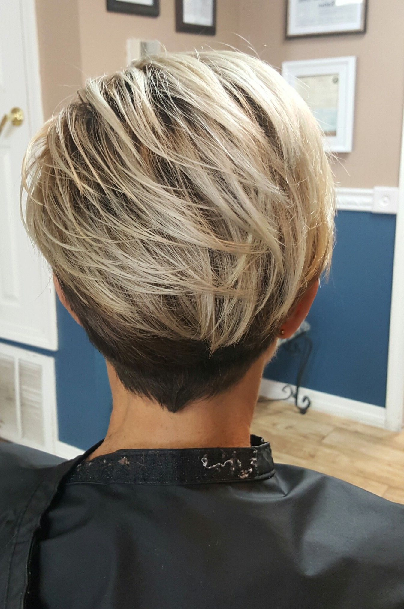 Platinum Color Melt With Shadow Root On Modern Pixie | The Shabby To Intended For Long Blonde Pixie Haircuts With Root Fade (View 15 of 20)