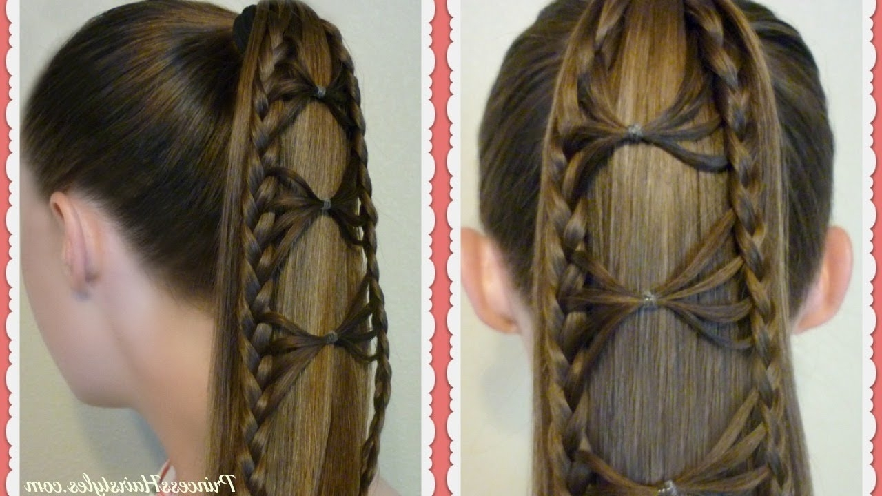 Popular Intricate And Adorable French Braid Ponytail Hairstyles Intended For Adorable Bow Tie Braid Ponytail Hair Tutorial (View 17 of 20)